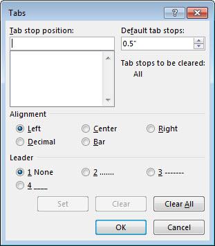 """""""制表位""""对话框"""
