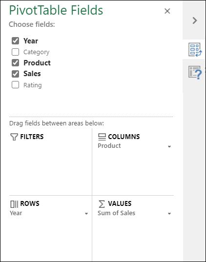 """使用""""数据透视表字段""""窗格选择哪些字段将转到数据透视表中的哪个位置。"""