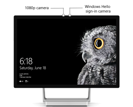 A picture of the Surface Studio display, with labels identifying the position of the two cameras near the center at the top