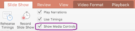 """PowerPoint 中 """"幻灯片放映"""" 选项卡上的 """"显示媒体控件"""" 选项"""