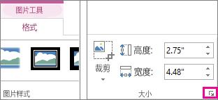 """""""图片工具""""下的""""格式""""选项卡上的""""大小""""组中的对话框启动器"""