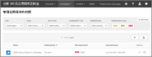 O365 CA 中您可以从调查菜单访问管理应用程序权限页面。