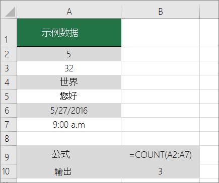 COUNT 函数的示例