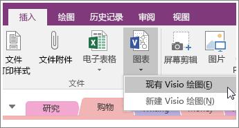 """OneNote 2016 中的""""插入图示""""按钮的屏幕截图。"""