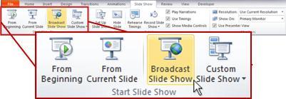 "PowerPoint 2010 中""幻灯片放映""选项卡上的""开始放映幻灯片""组中的""广播幻灯片""。"