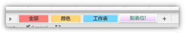 整个标签都填充了颜色的工作表标签的屏幕截图。