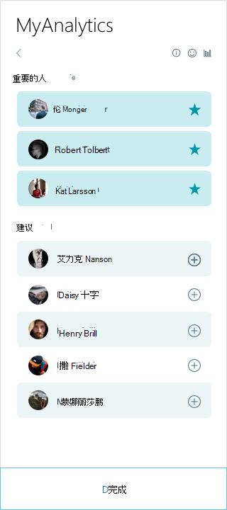 MyAnalytics 重要的人员列表的屏幕截图