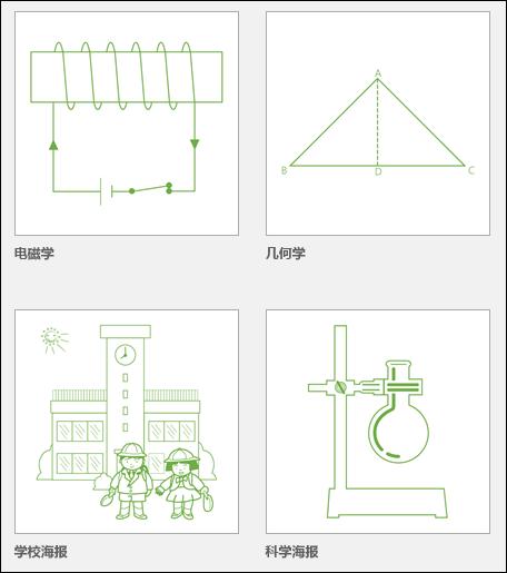 Microsoft 提供的四个 Visio 教育模板的缩略图