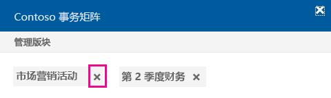 单击 x 从版块中删除文档