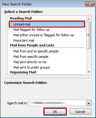 New search folder