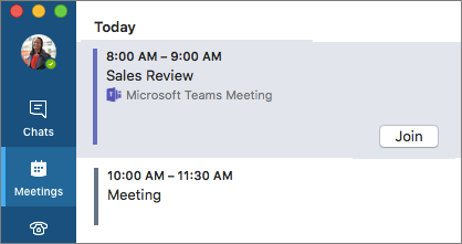 团队会议选项卡上的会议