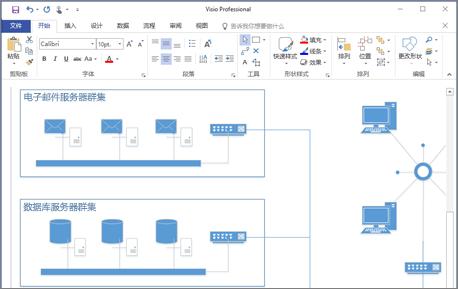在 Visio 2016 中创建的图表的屏幕截图。