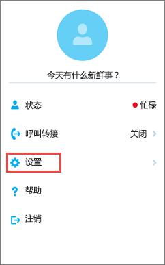 "iOS 版 Skype for Business 主屏幕和""设置""选项"