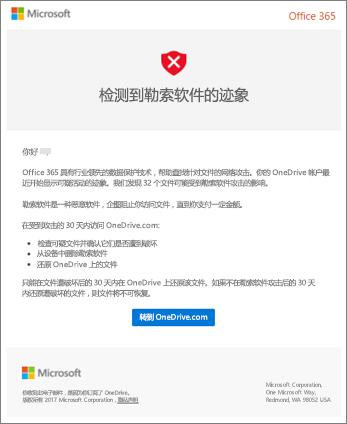 来自 Microsoft 的勒索软件检测电子邮件的屏幕截图