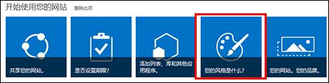 SharePoint Online 中新创建的网站,显示可单击的图块以便进一步自定义网站