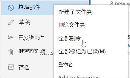 屏幕截图显示删除选中的垃圾邮件文件夹的所有选项。