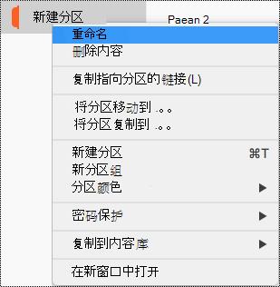 """突出显示了""""重命名""""分区的分区上下文菜单。"""