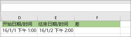 开始日期为 16/1/1 PM 1:00;结束日期为 16/1/2 PM 2:00