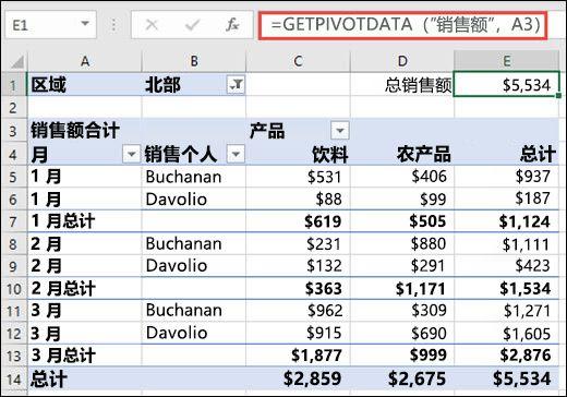 使用 GETPIVOTDATA 函数从数据透视表返回数据的示例。