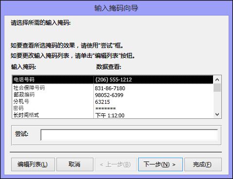 Access 桌面数据库中的输入掩码向导