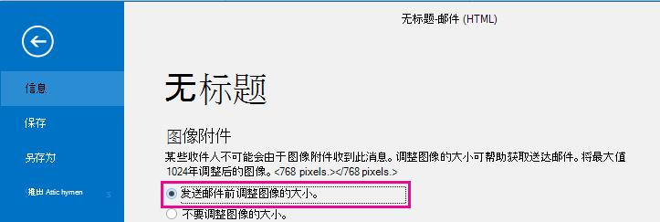 通过单击此选项,你可以在发送图片时让 Outlook 调整其大小。