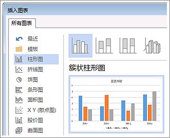 """""""插入图表""""对话框显示可供选择的各种图表和预览"""