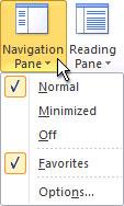 功能区中的导航窗格命令