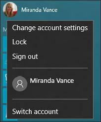 选择您的帐户图片时显示的菜单的图像