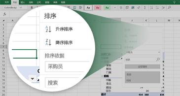 带有数据透视表并放大了一组可用功能的 Excel 工作表