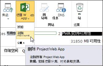 """在功能区上,单击""""Project Web App"""",然后单击""""删除""""。"""