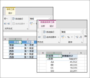 表格工具和数据透视表工具