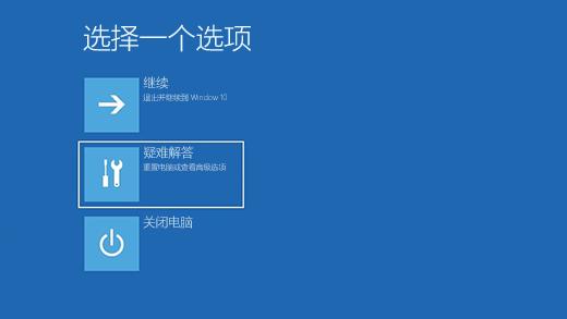 Windows 恢复环境中的选择一个选项屏幕。