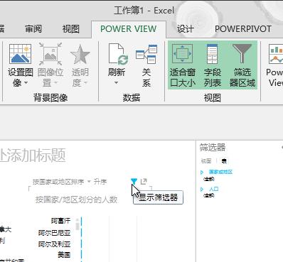 将鼠标指针悬停在 Power View 可视化效果上方时显示的筛选器图标