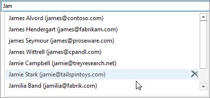 """在自动完成列表中,选择要删除的姓名,然后选择""""删除""""。"""