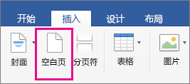 """""""插入""""选项卡上已突出显示""""空白页"""""""