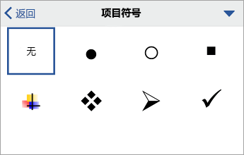 """""""项目符号""""命令,显示格式设置选项"""