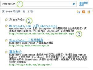 SharePoint Server 的三个最佳匹配出现在搜索结果页的顶部