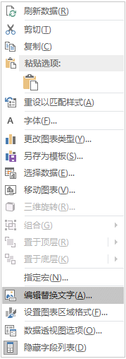 """数据透视图的 Excel Win32 """"编辑替换文字"""" 菜单"""