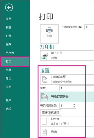 """在 Publisher 2013 中单击""""文件""""、""""打印""""以查看打印设置"""