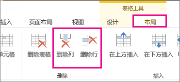 """""""表格工具""""的""""布局""""功能区中""""删除表格""""和""""删除行""""命令的图像"""