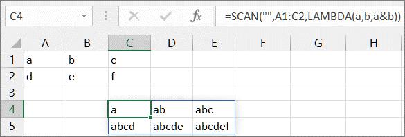 第二个 SCAN 函数示例
