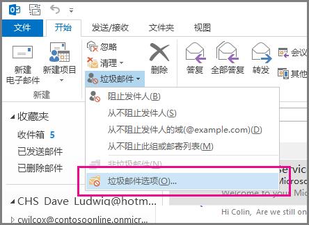 """Outlook 2013 中的""""垃圾邮件""""菜单"""