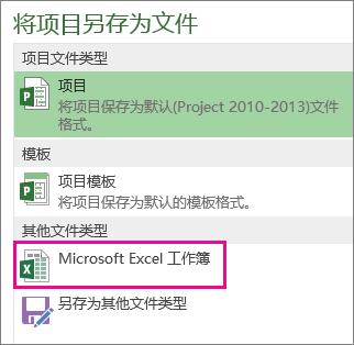 将项目文件另存为 Microsoft Excel 工作簿