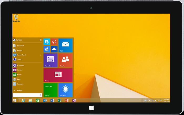 Start menu on Surface