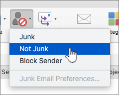 将邮件标记为非垃圾邮件的所选内容