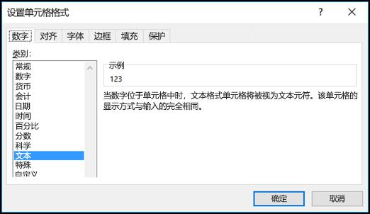 """""""设置单元格格式""""对话框显示""""数字""""选项卡和选中的""""文本""""选项"""