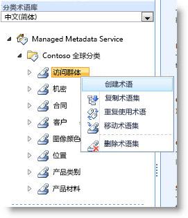 显示可以对术语集执行的操作的菜单