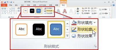 "PowerPoint 2010 功能区中""绘图工具""下的""格式""选项卡。"