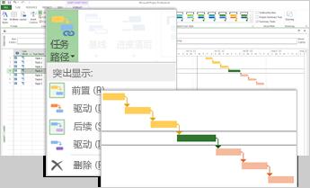 """""""任务路径""""菜单和突出显示了任务路径的甘特条形图"""