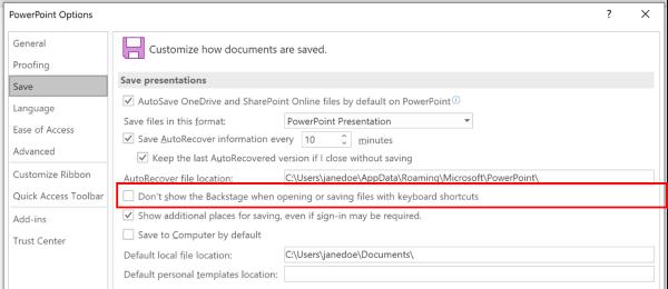"PowerPoint ""选项"" 对话框的屏幕截图,突出显示设置以在使用键盘快捷方式保存时不使用 Backstage"